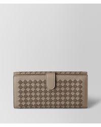 Bottega Veneta - Multicolor Limestone/steel Intrecciato Checker French Wallet - Lyst