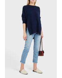 Theory Blue Karenia Side Tie Cashmere Jumper