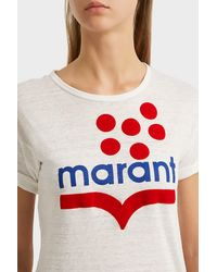 Étoile Isabel Marant White Koldia Printed Linen T-shirt