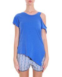 LNA - Blue Cut-out Shoulder T-shirt - Lyst