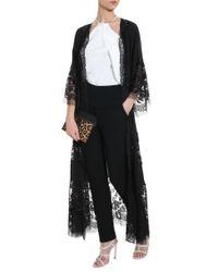 Elie Saab - Black Georgette Lace Coat - Lyst