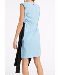 MSGM - Blue Poplin Ruched Dress - Lyst