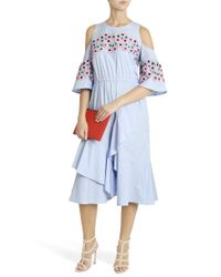 Peter Pilotto - Blue Cold Shoulder Dress - Lyst