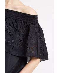 Tibi - Black Ruffle Embroidered Top - Lyst