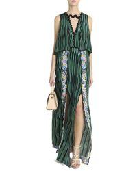 Mary Katrantzou - Green Fanburn Snuffbox-Print Crepe Maxi Dress - Lyst