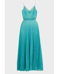 Missoni Blue Knit Pleated Sleeveless Dress