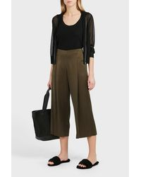 Theory Green Zavabell Cropped Satin Trousers