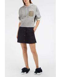 Paul & Joe Gray Jolichat Embroidered Cotton-jersey Hooded Sweatshirt