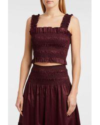 Rebecca Taylor - Smocked Cotton-sateen Top, Size M, Women, Purple - Lyst