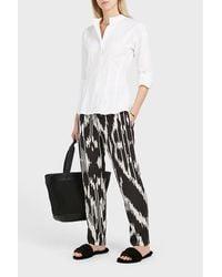 Theory White Narthus Collarless Cotton-blend Shirt
