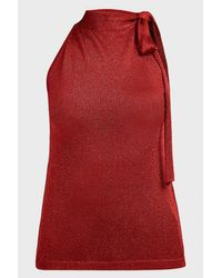 Missoni Red Sleeveless Tie-neck Blouse