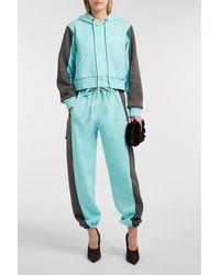 Natasha Zinko Blue Printed Cotton-blend Jersey Track Pants