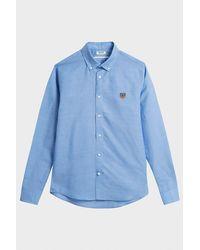 KENZO Blue Tiger Crest Linen And Cotton-blend Shirt for men