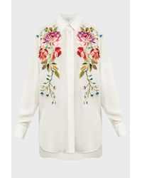 Andrew Gn Multicolor Rose Embroidered Long Shirt