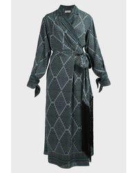 Amanda Wakeley Blue Paisley-print Wrap Silk Dress