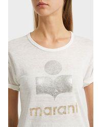 Étoile Isabel Marant White Koldi Printed Linen T-shirt