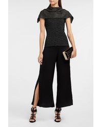 Roland Mouret Black Collier Merino Wool-blend Top