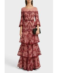Marchesa notte Red Lace Gown