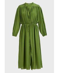 Three Graces London Green Julienne Crepe De Chine Maxi Dress