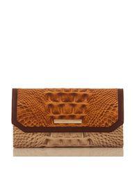 Brahmin Brown Soft Checkbook Wallet Dark Rum Caleb