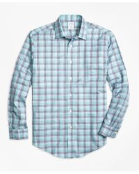 Brooks Brothers | Blue Non-iron Regent Fit Plaid Sport Shirt for Men | Lyst