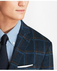 Brooks Brothers Blue Extra Slim Fit Windowpane Knit Sport Coat for men