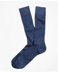 Brooks Brothers Blue Rib-knit Crew Socks for men