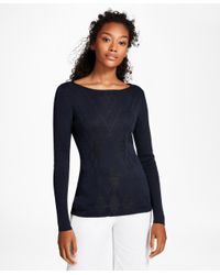 Brooks Brothers - Blue Argyle Cotton-blend Sweater - Lyst