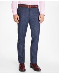 Brooks Brothers Blue Slim-fit Pinstripe Linen Suit Trousers for men