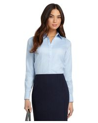 Brooks Brothers Blue Petite Non-iron Fitted French Cuff Dress Shirt