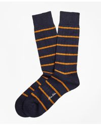 Brooks Brothers - Blue Merino Wool Stripe Crew Socks for Men - Lyst