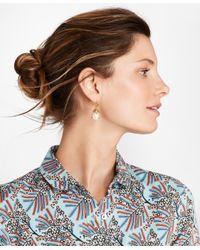 Brooks Brothers - Metallic Gem-studded Pearl Drop Earrings - Lyst