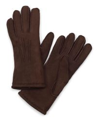 Brooks Brothers Brown Shearling Gloves for men