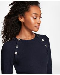 Brooks Brothers - Blue Button-shoulder Cotton-blend Sweater - Lyst