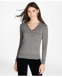 Brooks Brothers - Gray Saxxontm Wool V-neck Sweater - Lyst