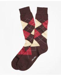 Brooks Brothers | Brown Argyle Crew Socks for Men | Lyst