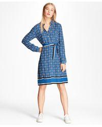 Brooks Brothers - Blue Foulard-print Crepe Shirt Dress - Lyst