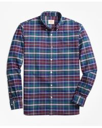 Brooks Brothers   Blue Yarn-dyed Plaid Oxford Sport Shirt for Men   Lyst