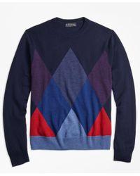 Brooks Brothers - Blue Merino Wool Argyle Crewneck Sweater for Men - Lyst