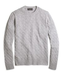 Brooks Brothers - Gray Cashmere Cable Crewneck Sweater for Men - Lyst