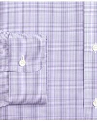 Brooks Brothers Purple Regent Fitted Dress Shirt, Non-iron Tonal Plaid for men