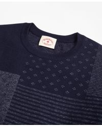 Brooks Brothers - Blue Patchwork Cotton Jacquard Crewneck Sweater for Men - Lyst