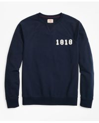 Brooks Brothers Blue French Terry 1818 Crewneck Sweatshirt for men