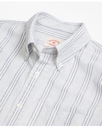 Brooks Brothers Gray Stripe Supima® Cotton Oxford Sport Shirt for men