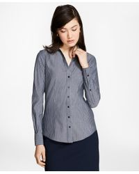 Brooks Brothers - Blue Petite Fitted Non-iron Striped Cotton Poplin Shirt - Lyst
