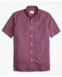Brooks Brothers Pink Gingham Batiste Oxford Short-sleeve Sport Shirt for men