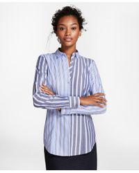 Brooks Brothers - Blue Non-iron Tailored-fit Striped Stretch-cotton Fun Shirt - Lyst