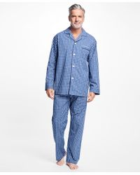 Brooks Brothers - Blue Graph Check Pajamas for Men - Lyst