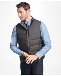 Brooks Brothers - Gray Reversible Plaid Down Vest for Men - Lyst