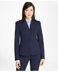 Brooks Brothers | Blue Petite Stretch Cotton Jacquard Jacket | Lyst